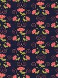Gentle seamless cute pattern of flowers in trendy coral color on the navy background. Vector illustration vector illustration
