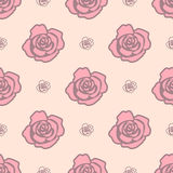 Gentle seamless pattern with big pink roses and light pink small roses on light beige background. Royalty Free Stock Images