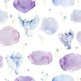 Gentle seamless pattern with birds, forget me not flowers and watercolor splashes. Romantic background with garden flowers. stock illustration