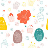 Gentle seamless pattern with cake Royalty Free Stock Photos