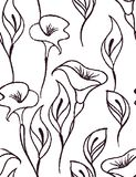 Gentle floral seamless pattern with a white background stock illustration