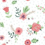 Gentle seamless pattern with flowers leave branches cute hand drawn meadow flowers background. Centle seamless pattern with flowers leaves branches. Seamless royalty free illustration