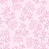 Gentle seamless pattern of pink leaves and branch Royalty Free Stock Image
