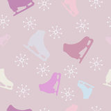 Gentle seamless pattern with skates. And snowflake Royalty Free Stock Photos