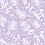 Gentle seamless violet vintage pattern. With white translucent flowers and butterflies (vector EPS 10 Royalty Free Stock Image