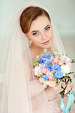 Gentle, sensual portrait of very beautiful girls bride blonde in Royalty Free Stock Photography