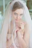 Gentle, sensual portrait of very beautiful girls bride blonde in Stock Photography