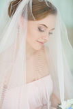 Gentle, sensual portrait of very beautiful girls bride blonde in. A pink dress and veil, drooping on face ,bright interiors Stock Photos