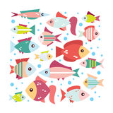 Gentle set of colourful fish. Fish vector cartoon. Cute fish vector illustration icons set in flat style Stock Image