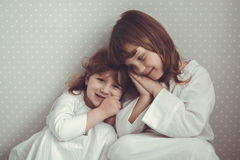 Gentle sister girls  retro, talking and hugging Royalty Free Stock Photography