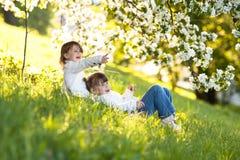 Gentle sisters hug apple blossom, sunny childhood. Delicate girls sisters hug around the branches of apple blossom, bright, sunny childhood, spring concept Stock Image