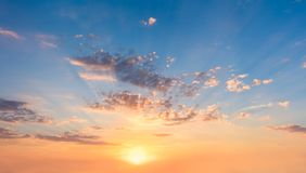 Free Gentle Sky At Sunset Sunrise With Real Sun And Clouds Royalty Free Stock Images - 156755879
