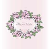 Gentle spring apple tree blooming flowers greeting card. Floral Royalty Free Stock Photos