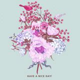 Gentle Spring Floral Bouquet with Birds Royalty Free Stock Images