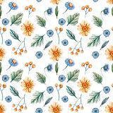Seamless pattern with watercolor flowers with yellow daisies and blue cornflowers on a white background. stock illustration