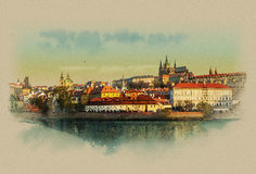Gentle summer sunrise over the old town on the Vltava river in Prague, Czech Republic. Watercolor sketch. The landscape of the old town on the Vltava river in Vector Illustration