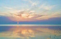 Gentle sunny sunrise at the seaside Royalty Free Stock Image