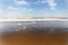 Gentle Surf. Lapping against a golden shore near Golden Gate Bridge in San Francisco Royalty Free Stock Photos