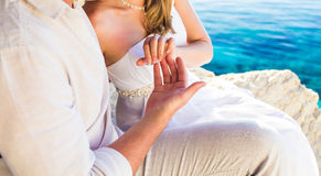 Gentle touch of hands couple in love Royalty Free Stock Photography