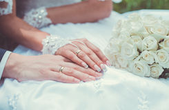 The gentle touch of hands of newlyweds Stock Photos