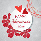 Gentle Valentine's card with decorative flowers Royalty Free Stock Image