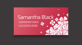 Gentle vector business card templates with paper flowers. And place for text for your design Stock Photography