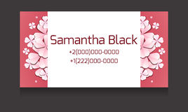Gentle vector business card templates with paper flowers. And place for text for your design Royalty Free Stock Image