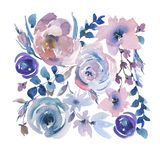 Gentle Watercolor Floral Greeting Card in a La Prima Style, Pink Watercolor Roses stock illustration