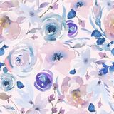 Gentle Watercolor Floral Seamless Pattern in a La Prima Style, Pink Watercolor Roses stock illustration