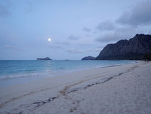 Waimanalo Beach with Full Moon Royalty Free Stock Photography