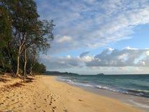 Gentle waves crash on Waimanalo Beach on Oahu, Hawaii Stock Images