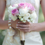 Gentle wedding bouquet of flowers in hands bride Royalty Free Stock Photo