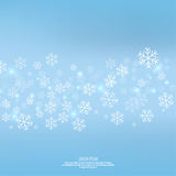 Gentle winter abstract background. With falling scatter snowflakes, ice crystals and sparkles. Elegant backdrop for festive decoration royalty free illustration