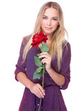Gentle woman with red rose Royalty Free Stock Image