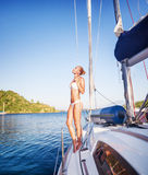 Gentle woman on sailboat Royalty Free Stock Images