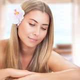 Gentle woman at spa Stock Photos