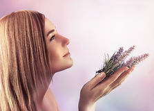 Gentle woman at spa Royalty Free Stock Image