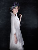 Gentle woman in white fashion dress Royalty Free Stock Image