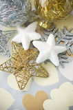 Gentle xmas baubles on holiday background Royalty Free Stock Photos