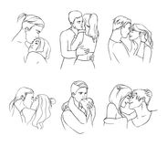 Gentle young couple in love hand drawn set. Relationships, embrace, hugs and kisses. Royalty Free Stock Photos