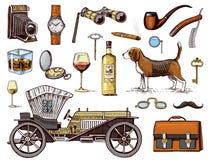 Gentleman accessories hand drawn set. Victorian era. binoculars and camera, briefcase, cufflinks, pouch, ring. Sunglasses, fountain pen, wrist watch, retro car royalty free illustration