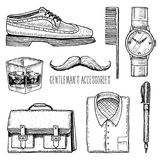 Gentleman accessories. hipster or businessman, victorian era. engraved hand drawn vintage. brogues and fountain pen Royalty Free Stock Photography