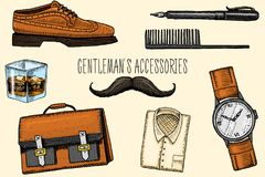 Gentleman accessories. hipster or businessman, victorian era. engraved hand drawn vintage. brogues and fountain pen. Briefcase and pouch, comb and wristwatch Royalty Free Stock Image