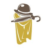 Gentleman accessory set of brown hat with umbrella and cape Royalty Free Stock Photo