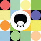 Afro man on colorful retro background. Vector Stock Photos