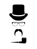 Gentleman attributes (hats, eyeglasses, mustache,  Royalty Free Stock Photo