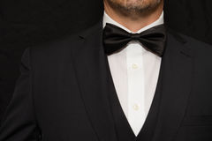 Gentleman in Black Tie. Close-up of a gentleman wearing Black Tie Royalty Free Stock Photo
