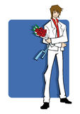 Gentleman with Bouquet Royalty Free Stock Photography