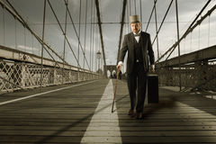 Gentleman on the bridge Royalty Free Stock Images