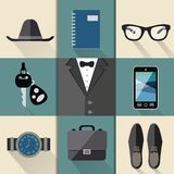 Gentleman business suit set vector illustration